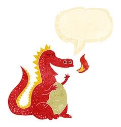 Cartoon fire breathing dragon with speech bubble vector