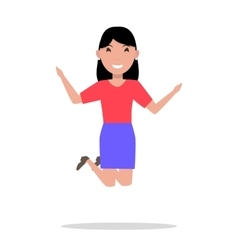 Cartoon woman jumping of happiness vector