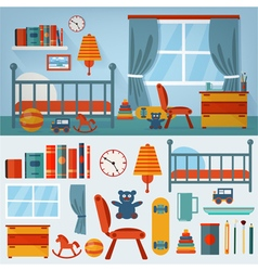 Children Bedroom Interior with Furniture vector
