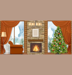 Christmas interior with mountain view vector