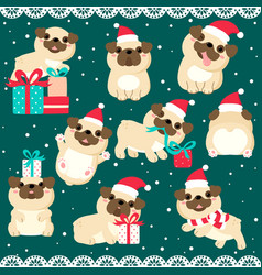 christmas set with cute pugs vector image