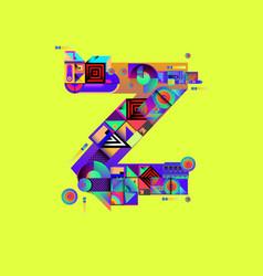 Colorful alphabet font letter z for logo vector