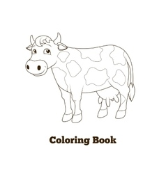 Coloring book cow cartoon educational vector