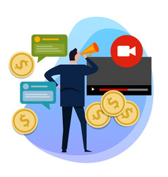 Concept of monetization of the video making vector