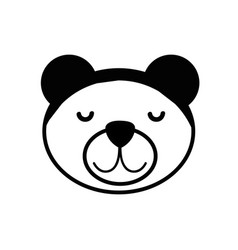 Contour cute teddy bear head design vector