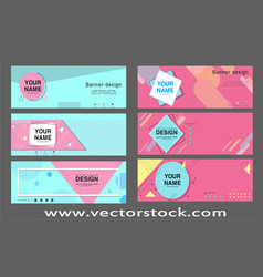 Corporate banner templates colorful flat geometry vector