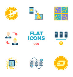 Cryptocurrency and blockchain flat icons vector