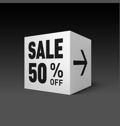 Cube banner template for holiday sale event fifty vector