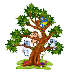 Cute baby animal on the tree vector