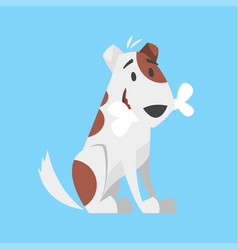 Cute happy dog holding bone vector