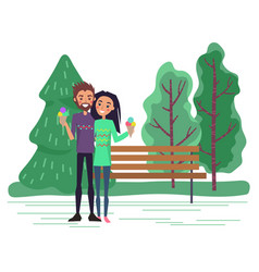 Dating couple with ice-cream in park vector