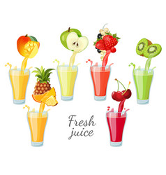 Different fruit juices in glasses with splashes vector
