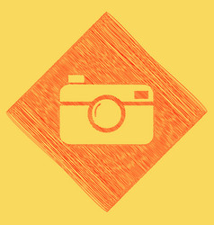 Digital photo camera sign red scribble vector