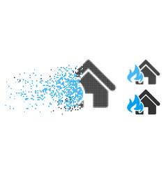Disintegrating pixelated halftone fire damage icon vector