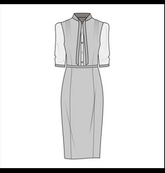 dress fashion flat sketch template3 vector image