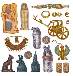 egyptian ancient sarcophagus pharaoh vector image