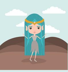 elf princess fantastic character in rock mountain vector image