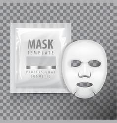 facial sheet mask with sachet blank mock vector image
