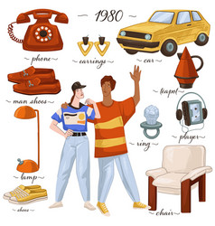 Fashion and clothes furniture and objects 80s vector