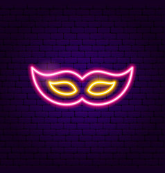 Festive mask neon sign vector