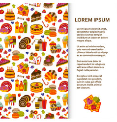 flat poster or banner template with sweets vector image