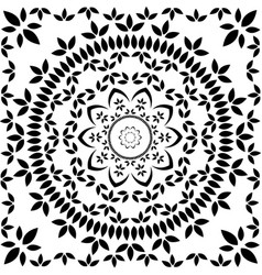 floral mandala in black and white vector image