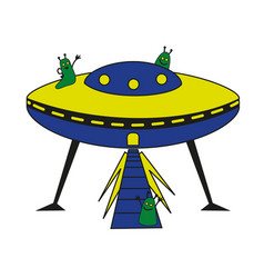 Friendly aliens waving hands from their spaceship vector