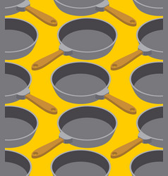 frying pan seamless pattern fry dishes background vector image
