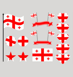 georgia flag set collection of symbols heart vector image