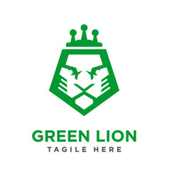 green lion head logo design vector image