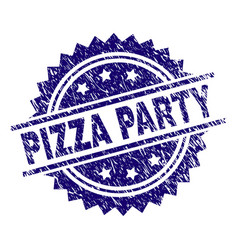 Grunge textured pizza party stamp seal vector