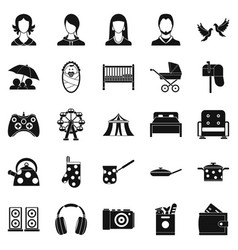 Guest icons set simple style vector