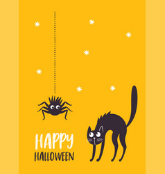 halloween black cat and spider vector image