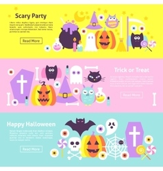Halloween Trendy Web Horizontal Banners vector image