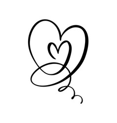 Hand drawn two heart love sign romantic vector