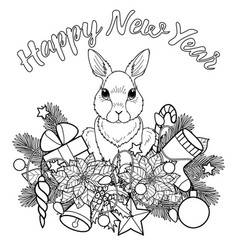 Happy new yaer pattern with rabbit vector