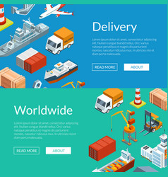 Isometric marine logistics and seaport web vector