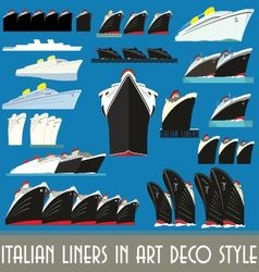 Italian liners in art deco style vector