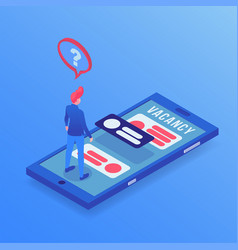 job searching app isometric vector image
