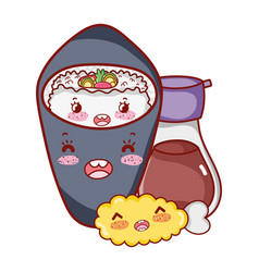 Kawaii sake fish meat food japanese cartoon sushi vector