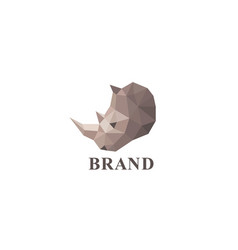 Low poly rhino logo vector