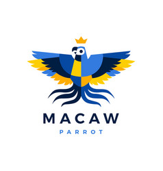 macaw parrot crown blue yellow bird logo icon vector image