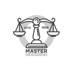 master lawyer organization emblem with antique vector image