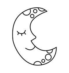 Moon character drawn icon vector