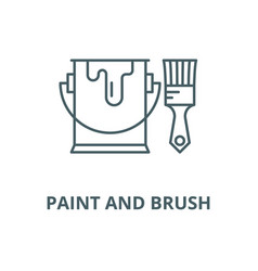 paint and brush line icon linear concept vector image