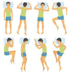 person sleep positioning man in different vector image