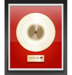 Platinum CD prize with label in frame on wall vector image