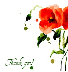 Postcard painted red poppy vector image