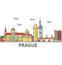 Prague city skyline buildings streets vector