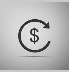 Refund money icon isolated on grey background vector